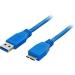 USB A - USB Micro B 3m blå